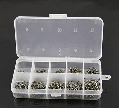 500 Pcs Mixed Sizes 3#-12# Black Silver Fishing Hooks Plastic Box by GAOHOU
