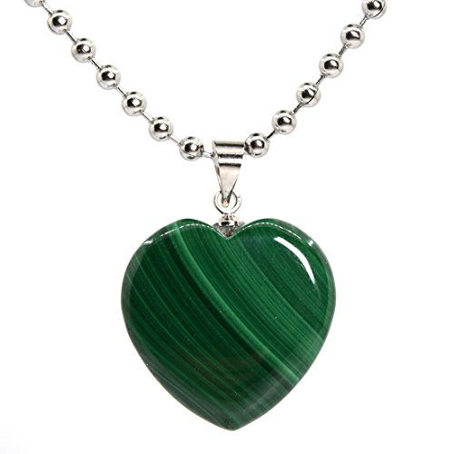 Justinstones Natural Malachite Heart Charm Pendant Necklace 18