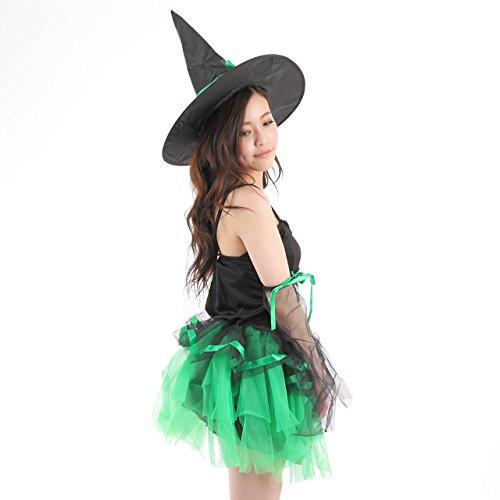 R-STYLE 小悪魔キュートなウィザード ハロウィン 魔女 コスプレ セット (緑)