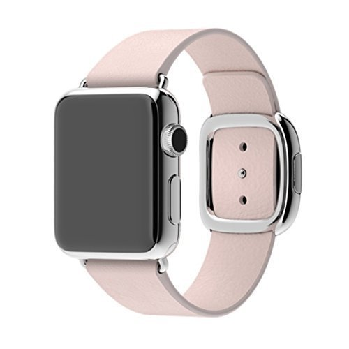 Apple Original 38mm Modern Buckle Replacement Band for Apple Watches MJ592ZM/A (Stainless Steel Buckle, Soft Pink Leather Band, Watch Not Included) - Large