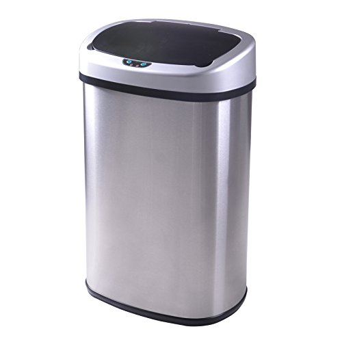 BestOffice TC-1350R 13-Gallon Touch-free Sensor Automatic Stainless-Steel Trash Can Kitchen 50r (Sensor Trash Can 13 Gallon compare prices)