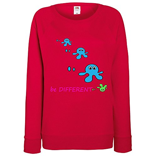 Divertente 028, Be Different, Rosso Fruit of the Loom Felpa Raglan Leggera da Donna Womens Sweatshirt con Design Colorato. Taglia XXL, 46.