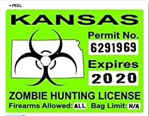 Kansas ks zombie hunting license permit green for Kansas state fishing license