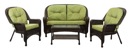 11-Piece Brown Resin Wicker Patio Furniture Set with Green Cushions