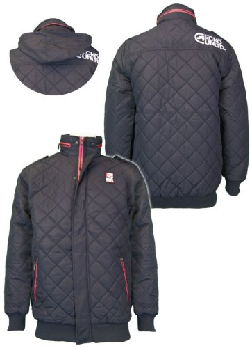 Mens Ecko Unltd 'Canon' diamond quilted jacket with contrast zips & fold away hood black xlarge