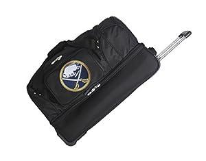 NHL Buffalo Sabres Drop Bottom Rolling Duffel Bag, Black, 27-Inch
