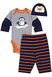 Gerber Baby-Boys Newborn 3 Piece Onesies Brand Bodysuit Pants and Cap Set