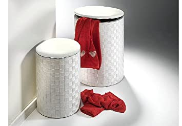 panier linge tabouret rond rond blanc en nylon cuisine maison m514. Black Bedroom Furniture Sets. Home Design Ideas