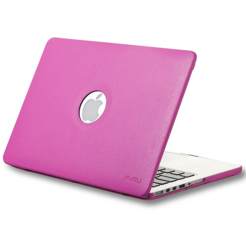 Best  Kuzy - Retina 13-Inch Neon HOT PINK LEATHER Hard Case for MacBook Pro 13.3