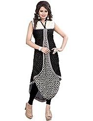 Lakshminarayan Creatin's Womens Printed Georgette Black And Cream Kurti Without Leggings