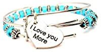 ChubbyChicoCharms I Love You More Heart Sky Blue Beaded Adjustable Wire Bangle Set by ChubbyChicoCharms