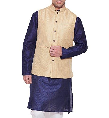ShalinIndia Men Faux Silk Nehru Collar Jacket 3 Front Pocket,M-FNJ34-1505,Cream,Size-34 Inch