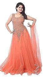 FastColors Women's Georgette Long Anarkali Unstitched Salwar Suit Dress Material(Orangegown_FC_Orange)