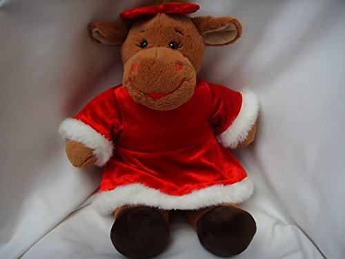 """Christmas Holly Moose Large 15"""" Plush Toy With Red Dress Doll Clothing"""