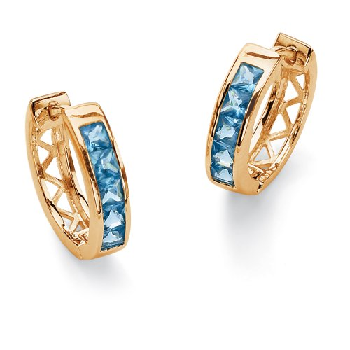 Princess-Cut Birthstone 18k Yellow Gold-Plated Hoop Pierced Earrings - March- Simulated Aquamarine