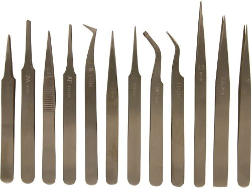 SE - Tweezers Set - Stainless Steel, Non Magnetic, 12 Pc - TW2-412