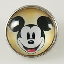 Chunk Snap Charm Mickey Mouse Print Glass Cover 18 mm for Fashion Jewelry Chunk Snap Leather Bracelets