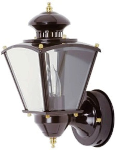 Designers Edge L-2552BK 15-1/2-Inch Dual Eye Motion-Activated Outdoor One-Light Upward Wall Sconce Black Metal with Beveled Glass