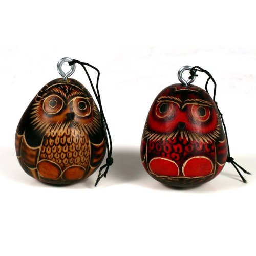 Wholesale Pack (6) Six 3″ Owl Gourd Hand Carved Nature Ornaments Peru Decorations
