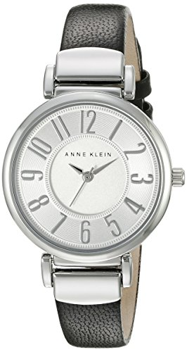 anne-klein-womens-ak-2157svbk-easy-to-read-silver-tone-and-black-leather-strap-watch