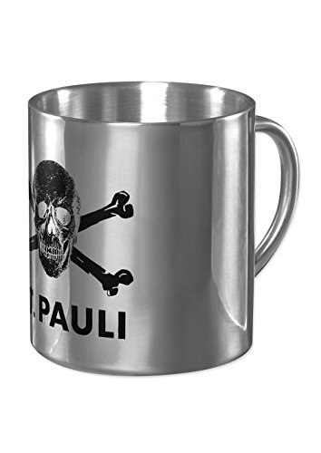 FC St. Pauli, in acciaio inox teschio tazza da caffè Mug, argento