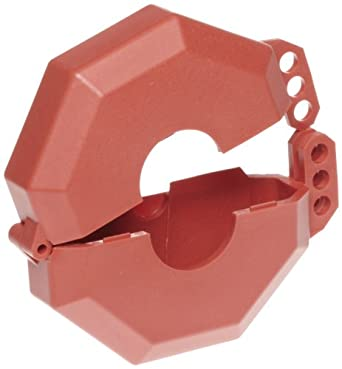 Accuform Signs STOPOUT Gate Valve Lockout, Hinged Plastic Clamshell Housing, Red