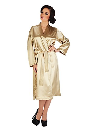 Satin Bademantel Classic Gold kurz S