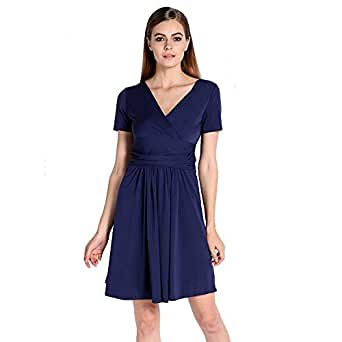 Navy Blue Office Dress Work Wear Midi Pleated Dresses Bkyo