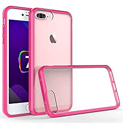 iPhone 7 Plus Case, Pasonomi Ultra Slim Shockproof Soft Bumper Cover with Crystal Clear Back Panel Protective Case for iPhone 7 Plus (Hot Pink)