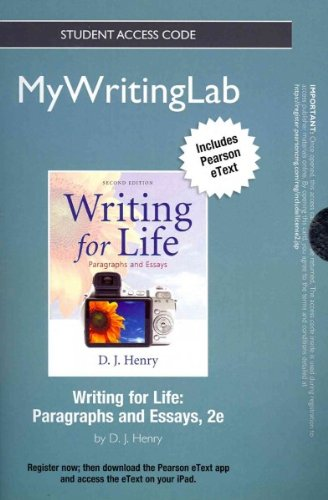 NEW MyWritingLab with Pearson eText -- Standalone Access Card -- for Writing for Life: Paragraphs and Essays (2nd Editio
