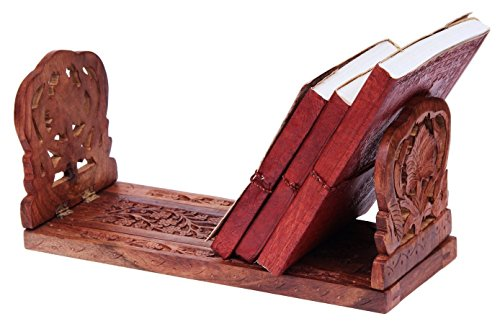 Handy Expandable Book Stand CD Rack Organizer Foldable Rosewood with Intricate Floral Carvings, 13 x 6.5 inches