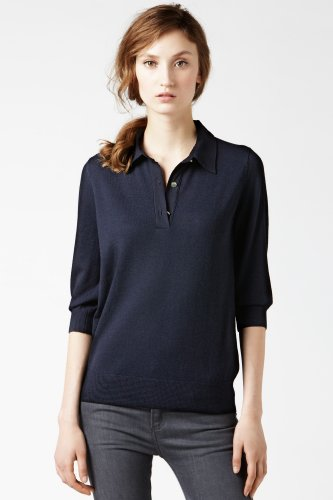 Short Sleeve Merino Sweater Polo With Silk Back