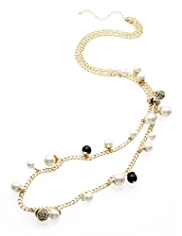 M&S Collection Pearl Effect & Bead Rope Necklace