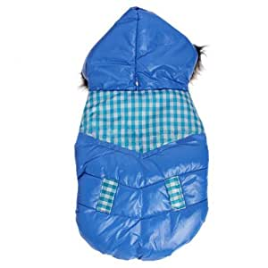 Fashion Dog Pet Plaid Grid Warm Hoodie Winter Polyester Coat Clothes Apparel (Blue, M)