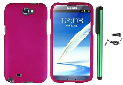 Best  Hot Pink Design Protector Hard Cover Case for Samsung Galaxy Note II N7100 (AT&T, Verizon, T-Mobile, Sprint, U.S. Cellular) Android Smart Phone + Luxmo Brand Car Charger + Combination 1 of New Metal Stylus Touch Screen Pen (4