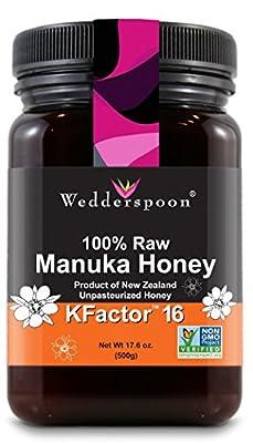 Wedderspoon 100% Raw Premium Manuka Honey KFactor 16+, 17.6 oz by Wedderspoon Organic