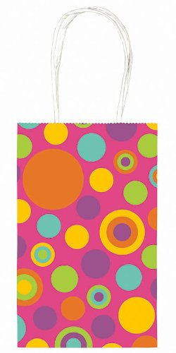 "Amscan Handy Birthday Party Dots Paper Cub Bag (1 Piece), 8 1/2"" x 5 1/4"" x 3 1/2"", Pink - 1"
