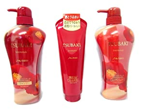 Shiseido Tsubaki Shining Camellia Oil Ex Hair Care set (Shampoo, Conditioner, Treament 120g)