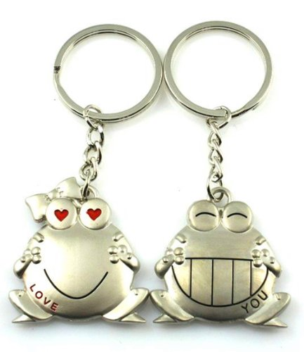 4EVER Stainless Smiling Animal Frog Couple Keychains (With Gift Box and Greeting Card) Key Rings Chains Best for Anniversary (A Pair)
