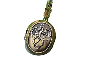 Antique Bronze Dragon Locket Necklace Jewelry Gift-vintage Style Oval ,5pcs