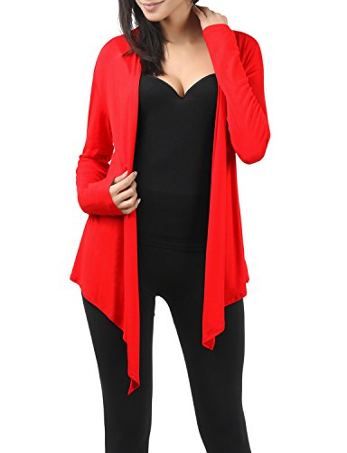 TWINTH Womens Draping Long Sleeve Jersey Open Cardigan Red XS