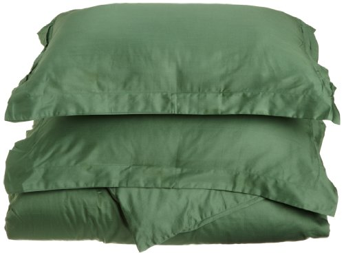 Impressions Genuine Egyptian Cotton 400 Thread Count King/California King 3-Piece Duvet Cover Set Solid, Hunter Green back-1053946