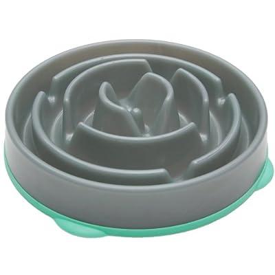 Kyjen 2871 Slo-Bowl Slow Feeder Slow Feed Interactive Bloat Stop Dog Bowl , Grey