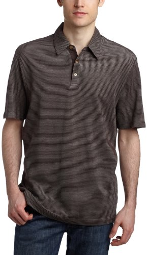 Perry Ellis  Men's Textured Stripe Polo,Dark Chocolate,XXL