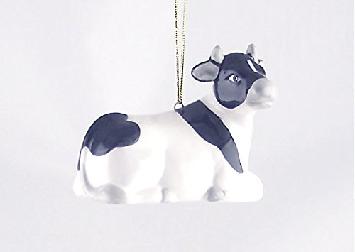 Fine Porcelain Holiday Christmas Ornament - Sitting Holstein Cow