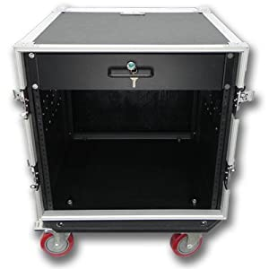 Seismic Audio - 10 SPACE RACK CASE WITH 2U LOCKING DRAWER Amp Effect Mixer PA/DJ PRO CASTERS