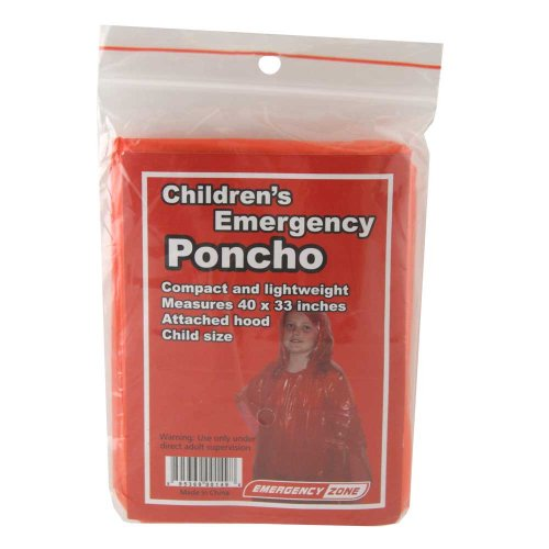Children's Emergency Poncho, Weather Protection,