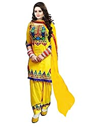 INDIA FASHION SHOP WOMENS YELLOW GREEN BLUE EMBROIDERED MIRROR WORK COTTON DRESS