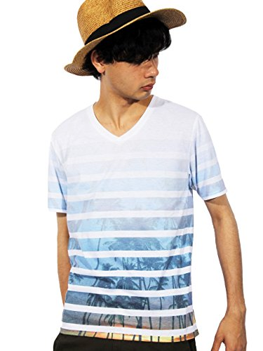 (エイト) 8(eight)2color ボーダー フォト プリント 半袖Tシャツ サーフ アメカジ Aタイプ M