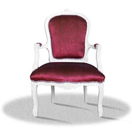 baroque armchair carved white laquere red fabric Punktmuster